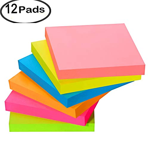 Sticky Notes,Memo Self-Stick Notes 3x3,12 Pads/Pack, 100Sheets/Pad,1200Sheets, 6 Assorted Bright Colors,Individual Package
