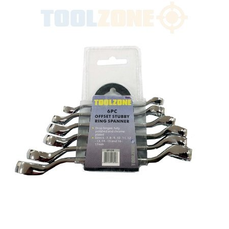 Toolzone 6Pc Stubby Ring Spanner Set by Toolzone