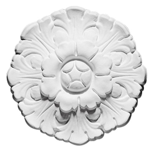 Focal Point 85004 Poppy Rosette 6 1/2-Inch Diameter by 1 1/4-Inch Projection, Primed White