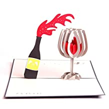 Paper Spiritz Cheers Wine Pop Up Card Mothers Day Thank You Happy Birthday Anniversary Gift for Him Her Greeting Card to Mom Handmade Laser Cut with Envelope Best Wishes Postcard( Pack of 1)