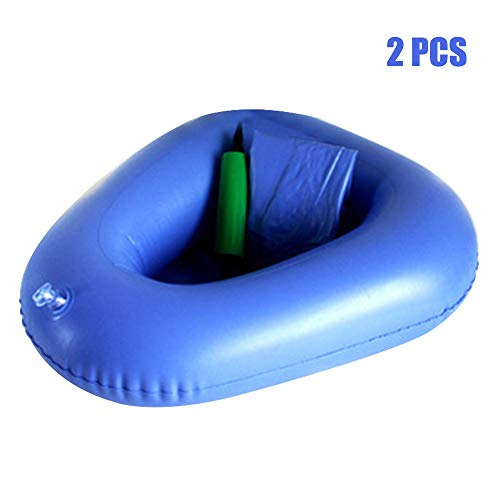 Air Inflation Bedpans,Fencia 2 pcs Washable Portable Air Inflation Blue Bed Pan Bedridden Elderly Inflatable Stool Bedsore Toilet with Inflator for Men Women by Fencia