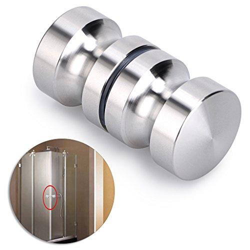 Glass Shower Door Hardware - Sumnacon Stainless Steel Shower Glass Door Knobs, Modern Elegant Bathroom Round Back-to-Back Shower Door Handle Pull Knobs for 0.16