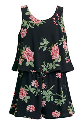 Truly Me Big Girls Tween Stunning Sleeveless Romper, Black Floral ()