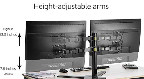 """Rife Dual Free-standing Arm Monitor Desktop Mount Stand Adjustable Screens Fit for 10""""-30"""" LCD and LED Displays (Black)"""