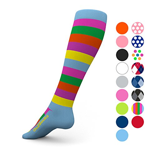 Go2Socks Compression Socks for Men Women Nurses Runners 20-30 mmHg (high) - Medical Stocking Maternity Travel - Best Performance Recovery Circulation Stamina - (Stripe,M)