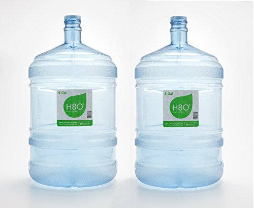 H8O Polycarbonate 5 Gallon Water Bottle (With Handle) with 48mm Cap - 2 Piece Set