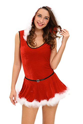 Costumes In July Christmas (Chase Secret Womens Christmas Red Santa Teddy and Skirt Costume)