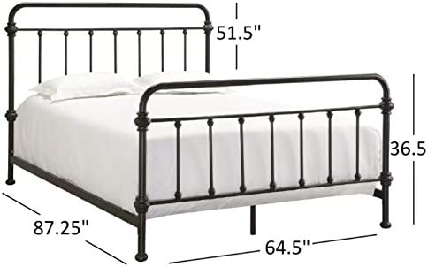 Tribecca Home Giselle Antique Dark Bronze Graceful Lines Victorian Iron Metal Bed Queen Size