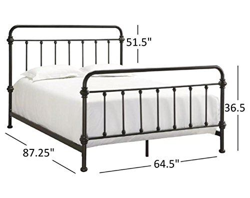 (Tribecca Home Giselle Antique Dark Bronze Graceful Lines Victorian Iron Metal Bed (Queen Size))
