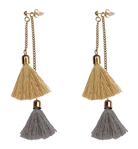 Mina Gold Contrast Drop Fringe Tassel 3.5 Inch Drop Long Shoulder Duster Earring Removable Adjustable Festival Taupe Brown Ear Jacket