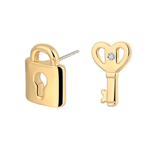 - Stud Earring for Women,Key&Lock Earring Stud Girl Gold Silver Dangle Earring Small Stainless Steel Earring (Gold Plated)