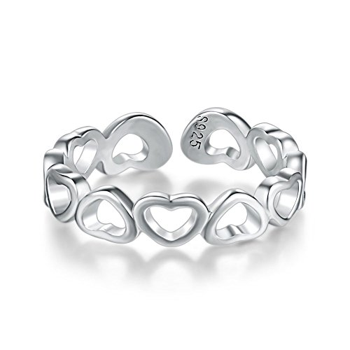 Sweetheart Band (UOKOHO Womens 925 Sterling Silver Stackable Rings Resizable Wedding Band Eternity Finger Ring (Style 1))