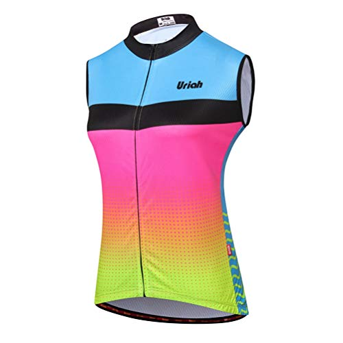 (Uriah Women's Cycling Vest Reflective with Rear Zippered Bag Pink Green Size M)