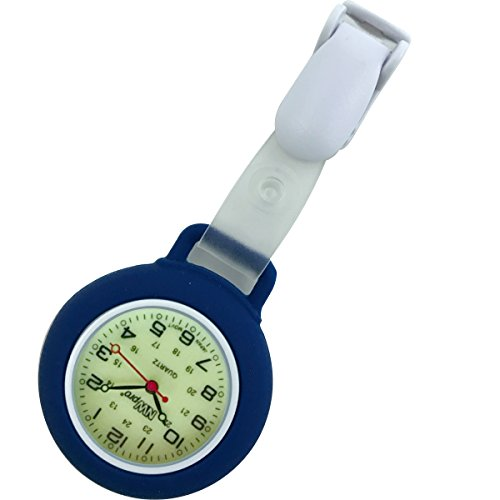 Glow Dial Nurse Watch - Clip-on Silicone (Infection Control) - (Military Time 24 Hr Clock)