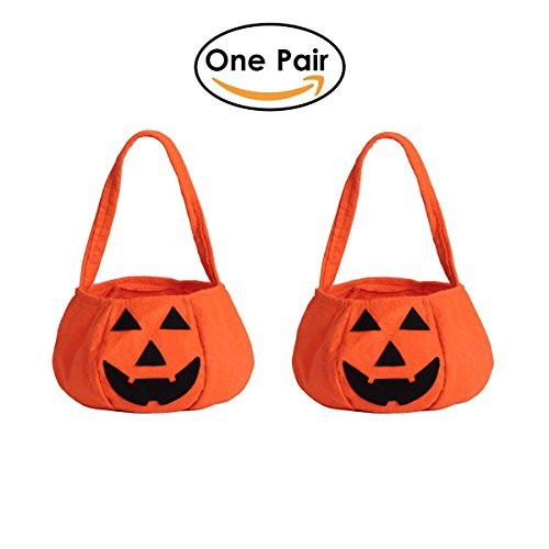 FUNOVE Halloween Trick or Treat Pumpkin Candy Tote Hand Bags for Kids or Costume Party(Pack of a Pair) -