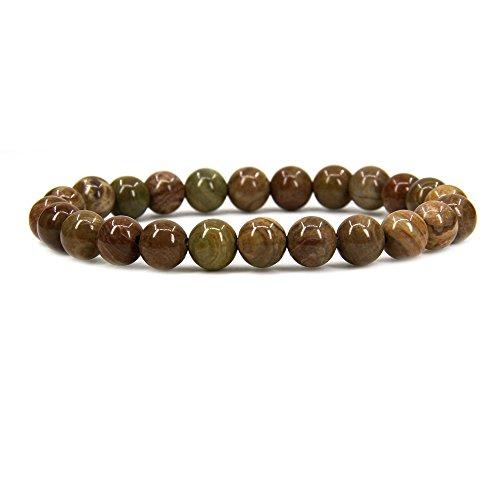 Natural Wood Veins Stone Gemstone 8mm Round Beads Stretch Bracelet 7