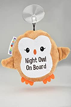 Alphabetz Kids Plush OWL Hanging Car Sign with Suction Cup, Cute Baby On Board Warning on The Road, Safe Driving 10233