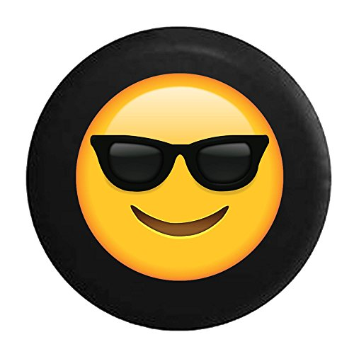 Text Emoji Smiling Face Sunglasses Cool Summer Tire Cover Black 29 - Sunglasses Face Text