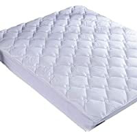 puredown Down Alternative Mattress Pad Topper Quilted Design 100% Cotton Top Rhombic Pattern White King Size