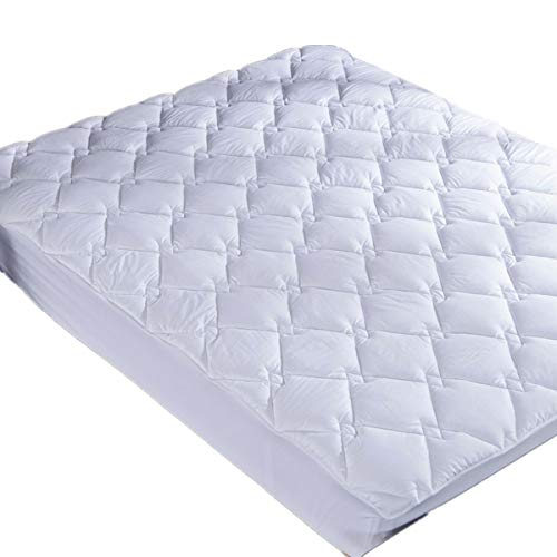 puredown Down Alternative Mattress Pad Topper Quilted Design 100% Cotton Top Rhombic Pattern White Queen Size