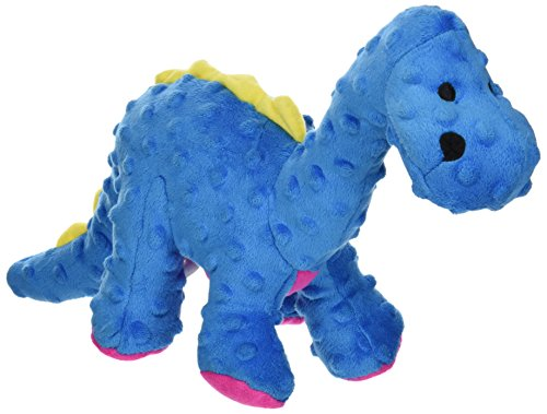 Blue Dog Soft Toy (goDog Dinos Bruto Tough Plush Dog Toy with Chew Guard Technology, Blue, Large)