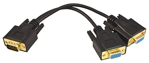 (PTC Premium 1-FT GOLD Series VGA / SVGA 1 source to 2 displays Splitter cable - 2 separated leads for the displays for greater reliability and eliminates signal interference. Duplicates the image from the video source to 2 displays.)