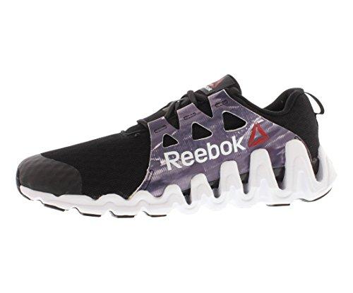 Reebok Women's Zigtech Big N Fast Glitch Running Shoe,Black/Flat Grey/White,8 M US