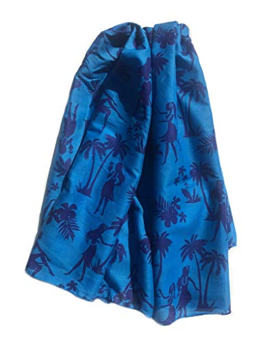- West Indies 100% Pure Cotton Sarong Pareo Beach Swimsuit Cover-Up Cruise Wear Resort Wear Island Wear Great Gift for Birthdays Brides Mother's Day (Hula French Blue)