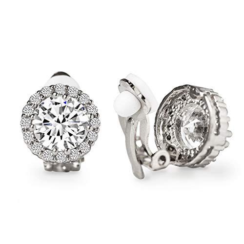 A+O Clip on Earrings, Round Crystal Stud Clip Earrings in Silver - 1/2 in (Crystal Ear Clips)