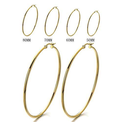 Stainless Circle Huggie Hinged Earrings