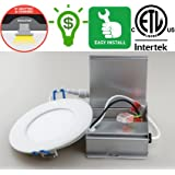 Dimmable LED Pot light 4 inch kit with electrical box - 9W (60W), 4000K - natural white, Certified, No housing required - Save $ on housing, Dry and Damp environments approved - Install in kitchens and washrooms, Insulation contact approved - Save $ on Heating, 50,000 hrs - Save $ on Replacement costs, 5 years warranty