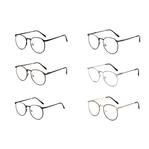 force avec Bronze Cadre des en de bleus anti lunettes mode rétro la Verres optiques à métal Inlefen 16YawUqw