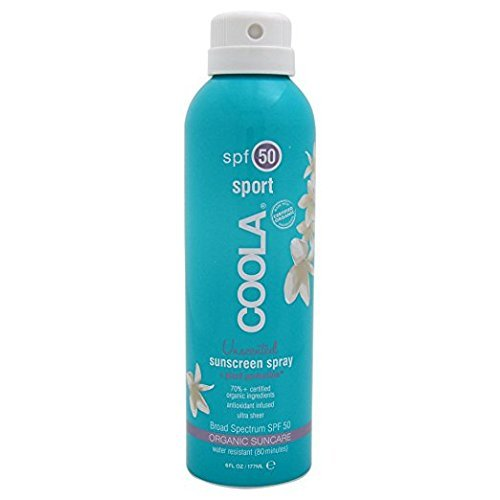 COOLA Organic Suncare, Eco-Lux Size, Unscented Sport Sunscreen Spray, SPF 50, 8 fl. Ounce