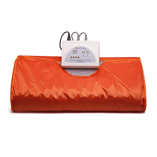 Pettyios Sauna Blanket, Faster and Safer Heating Far-Infrared (FIR) Heat Therapy Blanket 110V 2 Zone Digital Blanket for Body Shape Slimming Fitness (Orange) - Tissue Meridian