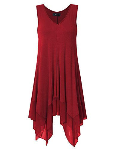 AMZ PLUS Womens Sleeveless Tank Tops Plus Size Pleated Asymmetrical Tunics Red 2XL ()