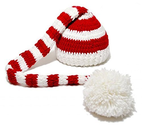 Baby Christmas Crochet ELF Long Tail Pom-pom Photo Prop Hat Party Costume -