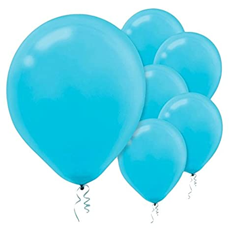 Solid Color Latex Balloons | Caribbean Blue | Pack of 15 | Party Decor