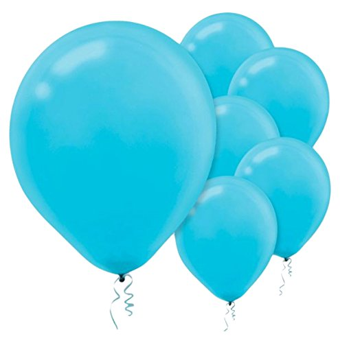 Solid Color Latex Balloons | Caribbean Blue | Pack of 15 | Party Decor -