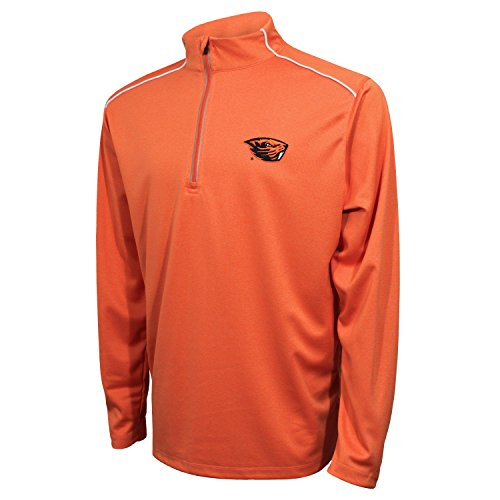 Crable NCAA Oregon State Beavers Men's Quarter Zip with Shoulder Piping Polo, Medium, V Orange/White