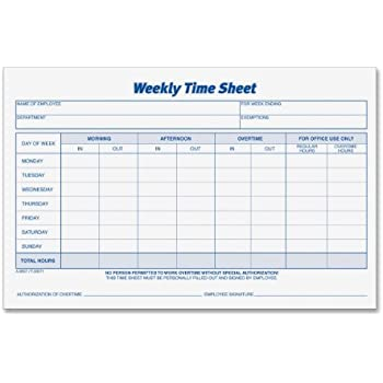 Amazon.com : TOPS Weekly Employee Time Sheet, 8.5 x 5.5 Inches ...