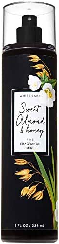 Bath and Body Works SWEET ALMOND and HONEY Fine Fragrance Mist 8 Fluid Ounce (2019 Edition, White Barn Label)
