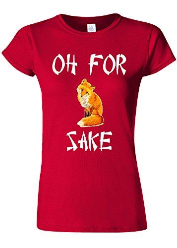ロケット消毒剤血統Oh For Fox Sake Funny Novelty Cherry Red Women T Shirt Top-XL