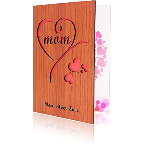 Mom Greeting Cards Wooden Card for Mother's day Present Best Mom Ever Gift - Present Cards