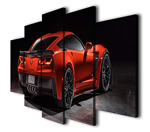 Mixi Art 5 Pcs Chevrolet Corvette Z06 Red Sport Car Printed Canvas Wall Art Picture Home Décor, Contemporary Artwork, Split Canvases (with Framed, Size 1: 8x14inx2pcs, 8x18inx2pcs, 8x22inx1pc.)