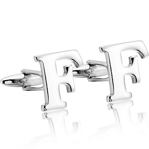 MOWOM Silver Tone 2PCS Rhodium Plated Cufflinks Initial Letter Capital Alphabet F Shirt Wedding