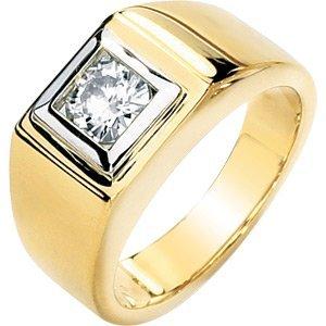 Men's 14k Yellow Gold 1 Ct Moissanite Wedding Ring ...