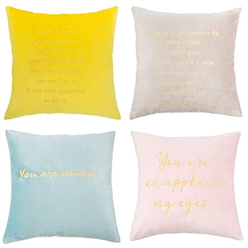 MIULEE Pack of 4 Decorative Embroidery Velvet Throw Pillow Cover Love Poems Pillow Case Soft Couple Cushion Cover for Living Room Sofa Bedroom Car 18 x 18 Inch 45 x 45 cm (Yellow Grey Teal Pink)