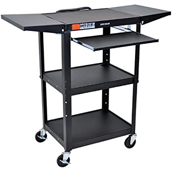 Luxor AVJ42KBDL Height Adjustable  Steel AV Cart with Pullout and Drop Leaf