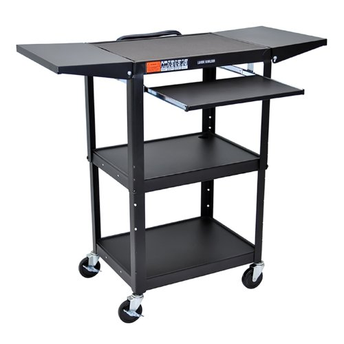 Luxor AVJ42KBDL Height Adjustable  Steel AV Cart with Pullout and Drop (Multimedia Presentation Cart)