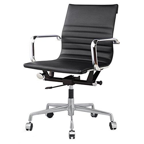 Meelano 348-BLK Vegan Leather Office Chair, Black